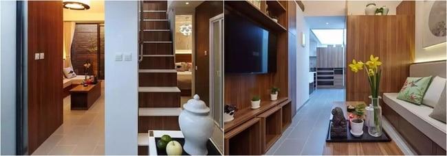 Cầu thang ngăn chia hai khu vực chức năng: tiếp khách và nghỉ ngơi